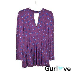 Free People Purple Floral Mini Dress Size 0